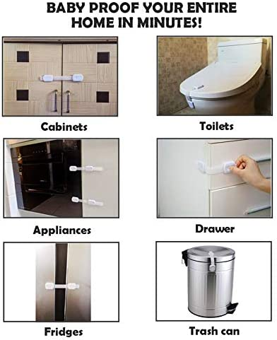 6 PandaEar-Child Baby Safety Cabinet Oven Toilet Drawers Fridge Closet Window Locks Multi-Purpose Use with 3M Adhesives
