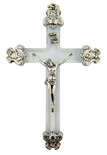 Clear Lucite Gothic Silver Tone Caps Jesus Christ Crucifix Pendant, 3 1/4 (Lucite Pendant)