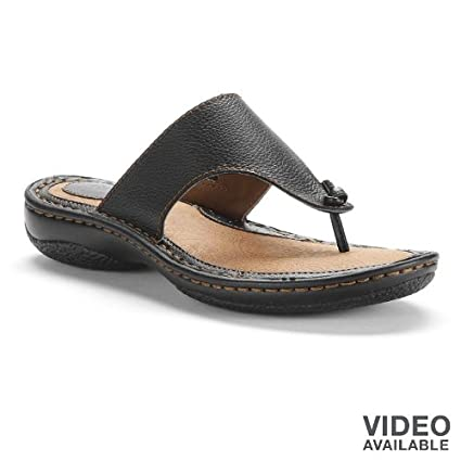 285deb5ea90b Amazon.com  SONOMA life + style Black Leather Thong Sandals - Women   Everything Else