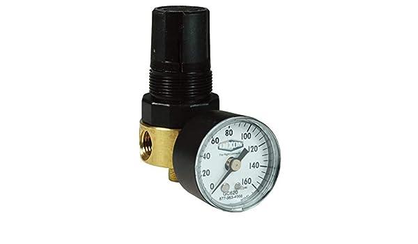 Dixon R364-02CG 1//4 Brass Mini Regulator with Gauge