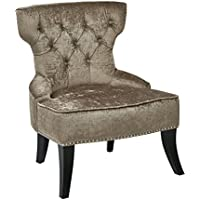 AVE SIX Colton Button Tufted Back Hourglass Chair with Nailhead and Piping Accents, Brilliant Otter