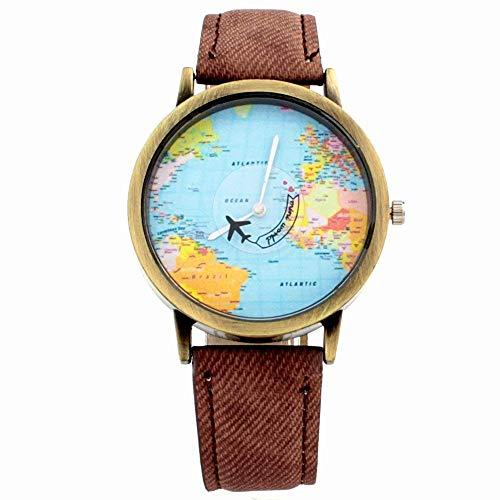 Reloj para Mujer Análogo Modelo Mini World Pop BlackMamut Caratula con Mapa de Mundo Avión Giratorio Incluye estuche...