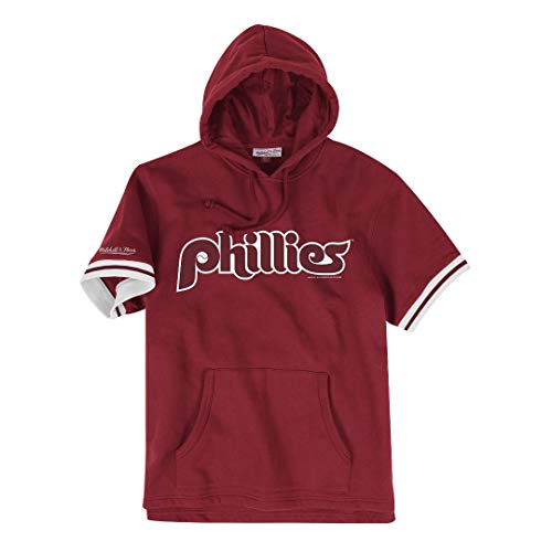 Mitchell & Ness Philadelphia Phillies MLB Drills Short Sleeve Hooded Sweatshirt