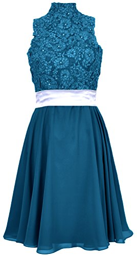 MACloth Women High Neck Lace Chiffon Short Prom Dress Cocktail Party Formal Gown Teal