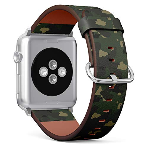Compatible with Big Apple Watch 42mm & 44mm Leather Watch Wrist Band Strap Bracelet with Stainless Steel Clasp and Adapters (Large Woodland Camo)