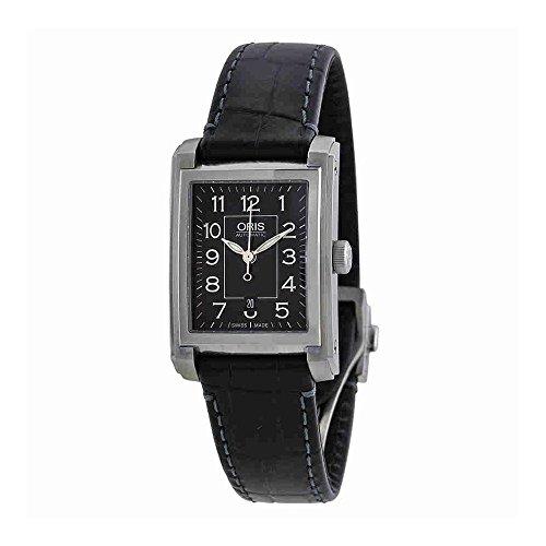 Oris Automatic Black Dial Black Leather Ladies Watch 561-7656-4034LS
