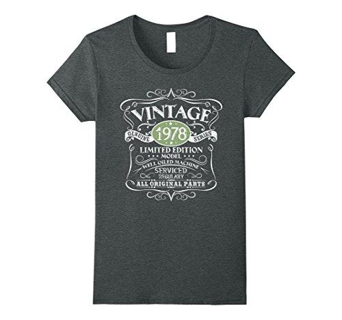 Womens Vintage 40th Birthday Funny Tshirt 1978 All Original Parts Medium Dark Heather