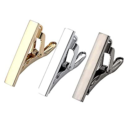 Zysta 3PCS Pack Multiple Choices - Men Tie Clips Set Clasp Regular Skinny Necktie Bar Tack Morden Fashion Elegant Business Wedding Formal Dress Luxury Classic Stylish