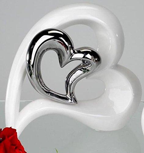 Deko Herz Vase aus Keramik weiß/silber Höhe 22 cm