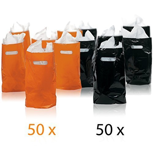 Prextex 100 Ct. Orange and Black Halloween Goody Bags (50 Black and 50 Orange) Halloween party favor bags