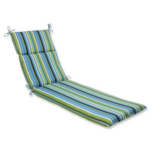 Pillow Perfect (72.5L X 21W X 3D Inches) Polyester, Outdoor Topanga Stripe  Lagoon Chaise Lounge Cushion, Blue