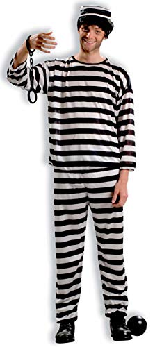 Forum Novelties Men's Prisoner Costume, Black/White,