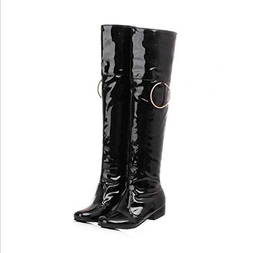 Botas de moda femenina Casual hasta la rodilla de tacón bajo black