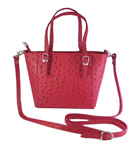 LAFINITY LT3139 Italy Luxus Echt Leder Strauss-Design Handtasche Damentasche Henkeltasche Tasche Rot