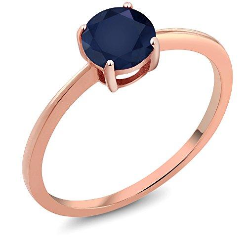 Ring Sapphire Rose (1.00 Ct Round Blue Sapphire 10K Rose Gold Gemstone Birthstone Women's Ring (Size 6))