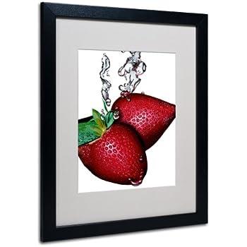 Trademark Fine Art Strawberry Splash II Canvas Wall Art by Roderick Stevens, Black Frame, 16 by 20-Inch