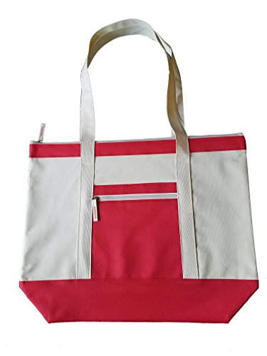 ImpecGear Deluxel Travel Totes Luggage Beach Bag, Heavy Duty Zippered Shopping Totes (Red) by ImpecGear (Image #7)