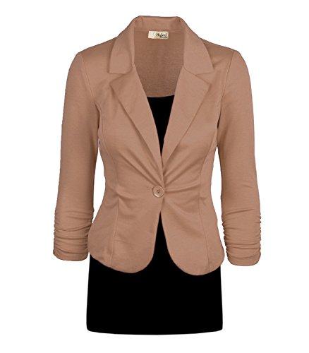 Women's Casual Work Office Blazer Jacket JK1131 Khaki 1X Plus