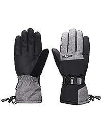 SNOTEK ST219 Mens Winter Ski Gloves with Wrist Leash, Cold Weather Snow Gloves (Black/Grey, L)