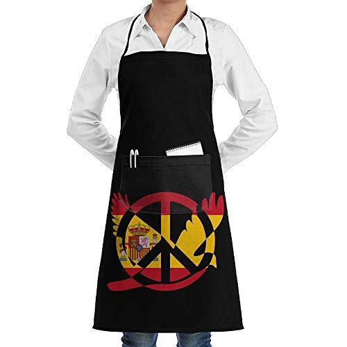 Qotuyou&me Apron Kitchen Cooking/Restaurant, Adjustable Bib Apron Pockets Spain Flag Peace Sign Symbol Pattern by Qotuyou&me