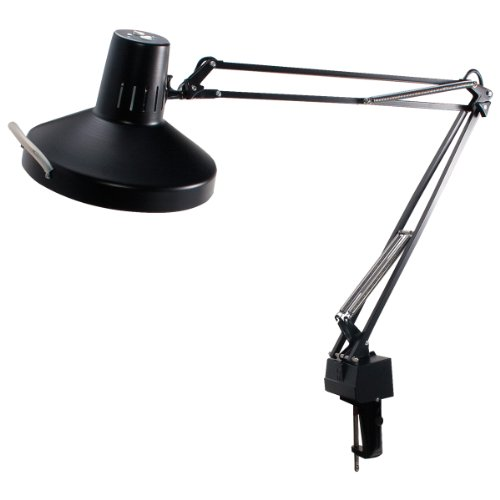 LEDU L445BK 3-Way Clamp Mount Fluorescent/Incandescent Swing Arm Lamp, 37.5