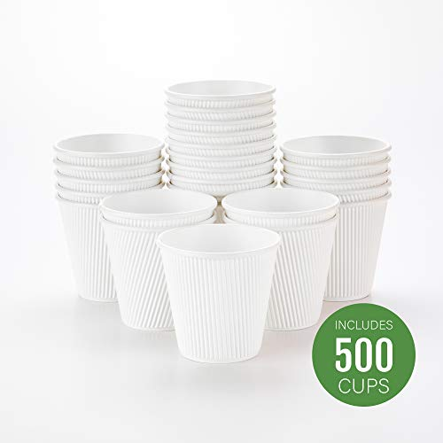 (500-CT Disposable White 8-OZ Hot Beverage Cups with Ripple Wall Design: No Need for Sleeves - Perfect for Cafes - Eco-Friendly Recyclable Paper - Insulated - Wholesale Takeout Coffee Cup )
