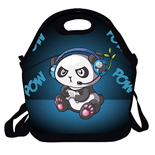 (Amuseds Personalized Lunch Box Cute Cartoon Panda Listening to Music Pattern Handbag with Adjustable Shoulder Strap for Adults/Men/Women/Kids)
