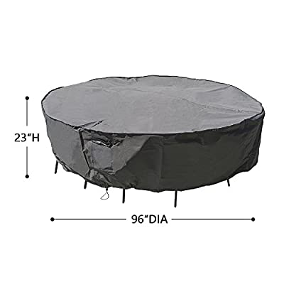 M&H Heavy Duty Waterproof Large Patio Set Cover - Outdoor Furniture Cover with Padded Handles and Durable Hem Cord - Fits Large Oval or Rectangular Table with Chairs, Taupe