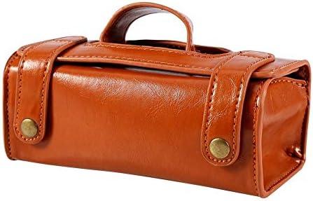 YouNITE ファッションメンズポータブル化粧ポーチブラウンPUレザーシェービングブラシカミソリトイレタリーバッグ (Color : Brown)