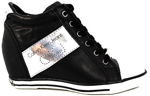 Calvin Klein Jeans Violet Brush, Zapatillas deportivas- Bambas, cuña media 4-7cm, negro, piel, Redonda, otoño invierno 2014-15