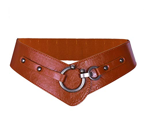 TY belt Women Leather Belt Fashion Round Hook Design Wide Waist Belt Chic Elastic Stretch Waist Band (brown)