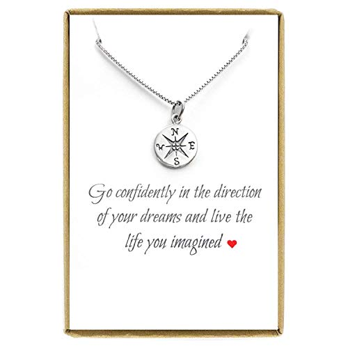 Small Compass Necklace Sterling Silver, Go Confidently in the Direction of Your Dreams, Graduation Gift Necklace, 18