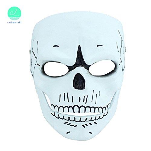 Bond Girl Costumes (Men Fashion Halloween Skull Ghost Party Bond Mask Cosplay Masked Ball Resin Terror Masks)