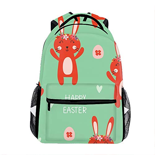 3D Easter Pattern With Cute Rabbits School Backpacks Travel Bags for Teen Girls Boys ()