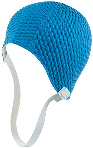 Latex Swim Cap - Women Stylish Swimming Cap Great for Ladies, Perfect to Keep Hair Dry - Suitable for Long Hair - Bubble Crepe with Chin Strap - Light Blue