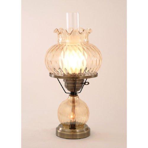 Hurricane with Rhombus Optic Amber Glass Lamp (Hurricanes Wall Blown Glass)