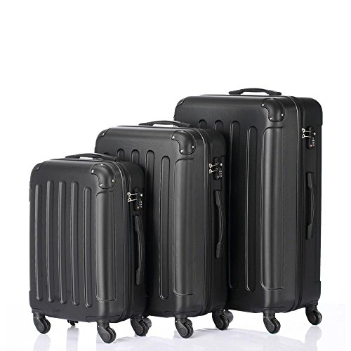 3-in-1 Portable ABS Trolley Case 20/24/28 Black