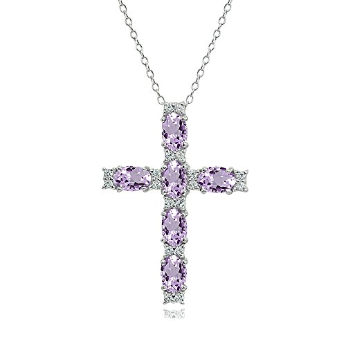 (Sterling Silver Amethyst Oval-Cut Cross Pendant Necklace with White Topaz Accents)