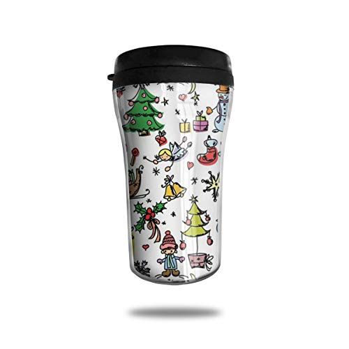 Xuforget Doodle Christmas Concepts Drawn in Cartoon Style Spill Proof Coffee Travel Mug