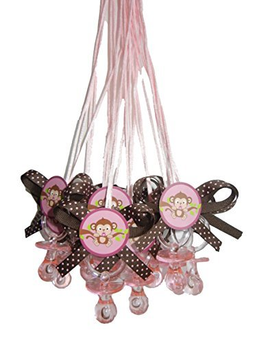 Sweet Safari Pink Monkey Baby Shower Pacifier Necklace Game Party Pack (12) by Party Supplies -