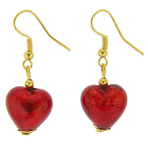 - GlassOfVenice Murano Glass Heart Earrings - Ruby Red