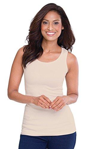 PajamaJeans Women's Bra:30 Tank Supima Cotton After Bra, Natural, Large / - Tank Cotton Supima