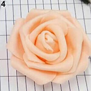 Aland 50Pcs Artificial Flowers Wedding Bride Bouquet Party Decor Foam Rose Heads 74