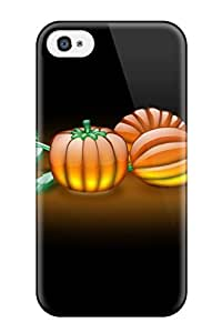 Rugged Skin Case Cover For Iphone 4/4s- Eco-friendly Packaging(aqua Pumpkins)