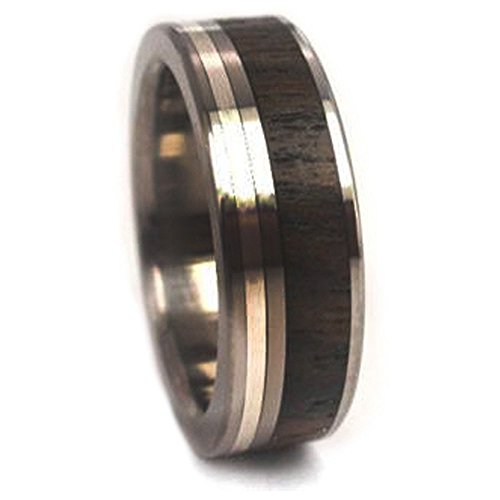 Ziricote Wood, Sterling Silver Inlay 7mm Comfort Fit Titanium Band, Size 4.5 by The Men's Jewelry Store (Unisex Jewelry)