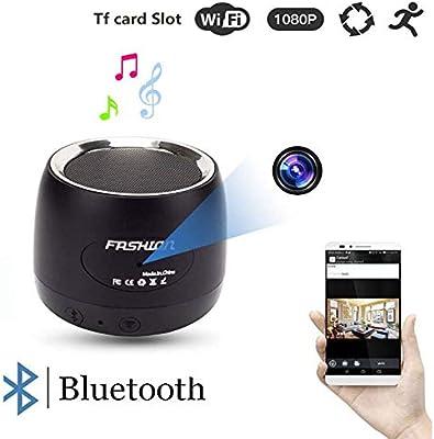NBZH WiFi Cámara Oculta Bluetooth Altavoz 1080P Cámara Espía con 180 ° Girar La Lente Y La Detección De Movimiento