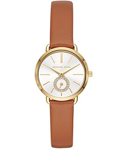 Michael Kors Women's Stainless Steel Quartz Watch with Leather Calfskin Strap, Brown, 12 (Model: MK2734 ()