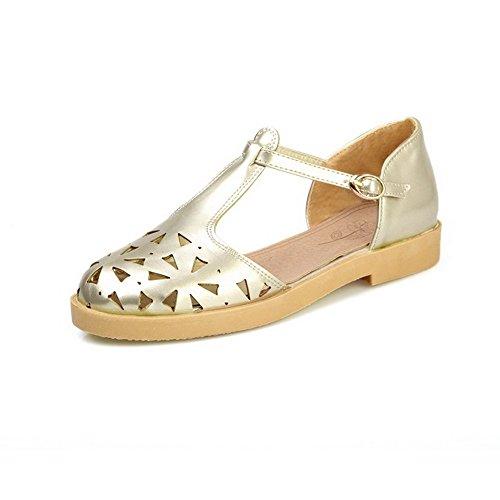con vestir Cerrada Sólido Sandalias Gold de Mujeres Puntera AllhqFashion Hebilla Metal n804Awx
