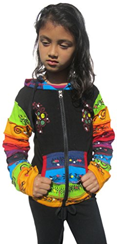 (Little Kathmandu Kids Black Rainbow Pixie Hood Cotton Jacket 4)