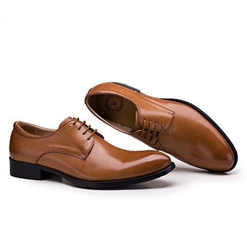 GRRONG Los Hombres De Los Zapatos De Cuero De Negocios En Punta Vestimenta Formal Ocio Yellow